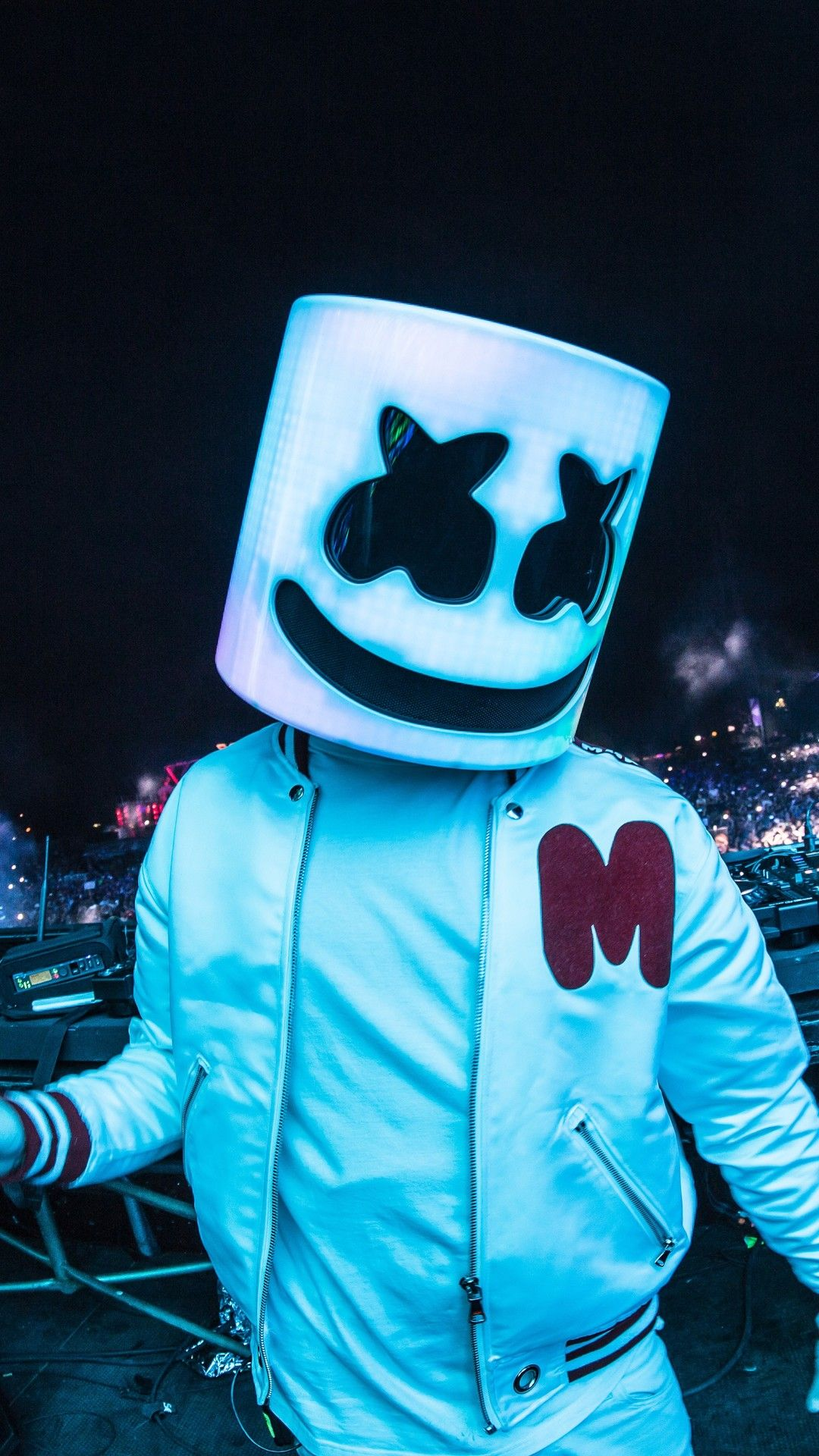 Marshmello 2018 On Stage Live Dj 5k In 1080x1920 Resolution Joker Iphone Wallpaper Download Cute Wallpapers Marshmallow Pictures