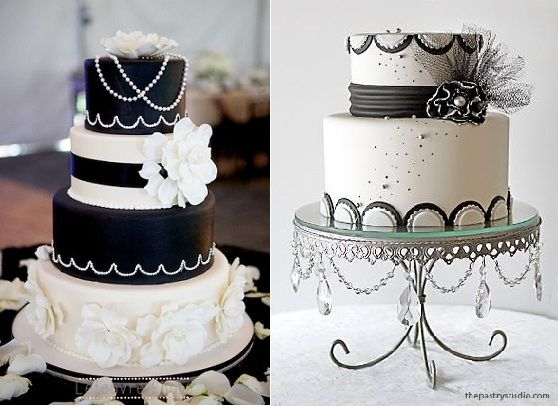 Gatsby wedding cakes in black and white from The Pastry Studio