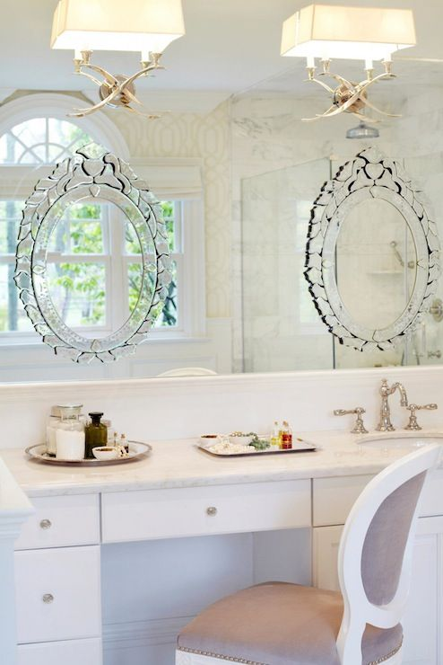 Bathroom Mirrors Over Vanity chic master bathroom features visual comfort lighting 2 light