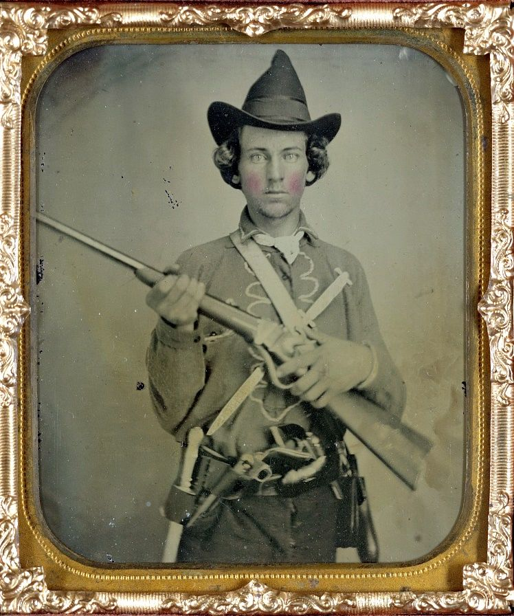 Civil War weapons: An unidentified Confederate cavalryman with a slant breech  carbine.