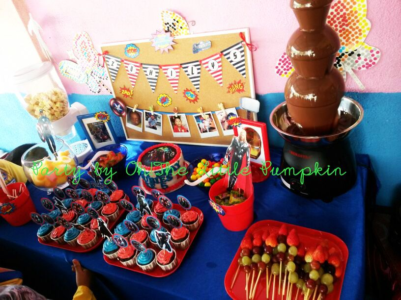 Simple candy buffet setup. The Avengers!