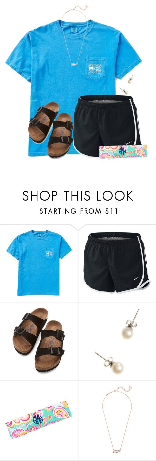 """""""Subway for dinner"""" by flroasburn ❤ liked on Polyvore featuring NIKE, Birkenstock, J.Crew and Kendra Scott"""