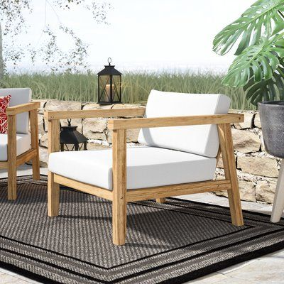 Bayou Breeze Edmeston Outdoor Teak Chair With Cushions Teak Outdoor Furniture Teak Patio Furniture Teak Outdoor