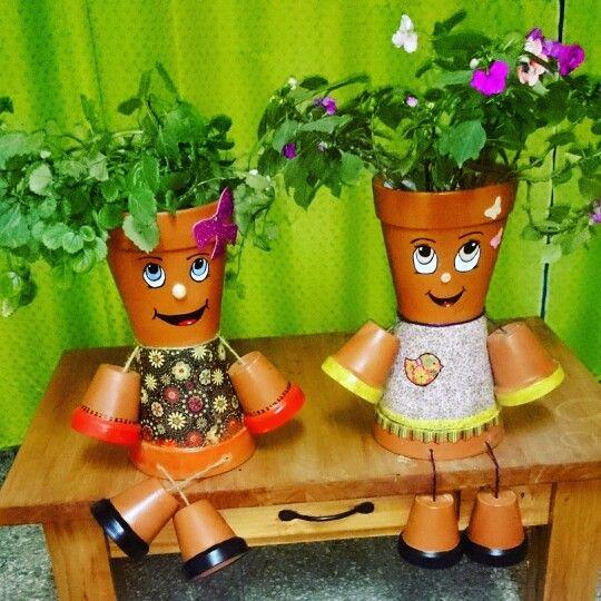 feliz con mis creaciones!   muñecos con macetas   pinterest