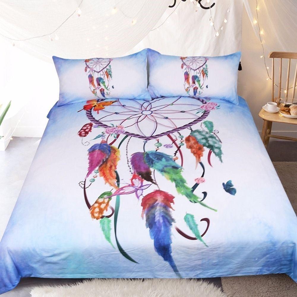 Heart Shape Dreamcatcher Bedding Set Pink Sky Blue Duvet Cover Soft Microfiber Unbranded Contemporary Blue Duvet Cover Bed Duvet Covers Cheap Bedding Sets