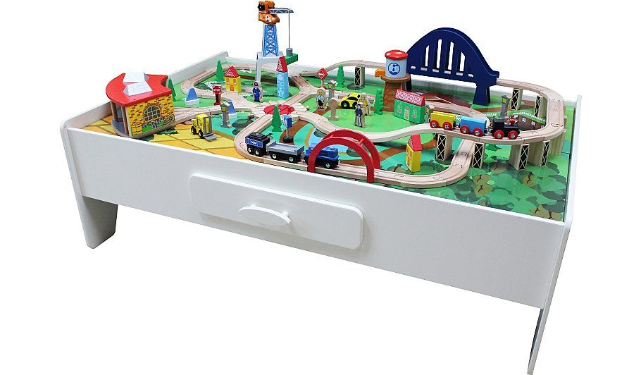 George Home Wooden Train Set And Table | Kids | George at ASDA  sc 1 st  Pinterest & George Home Wooden Train Set And Table | Wooden train and Train set