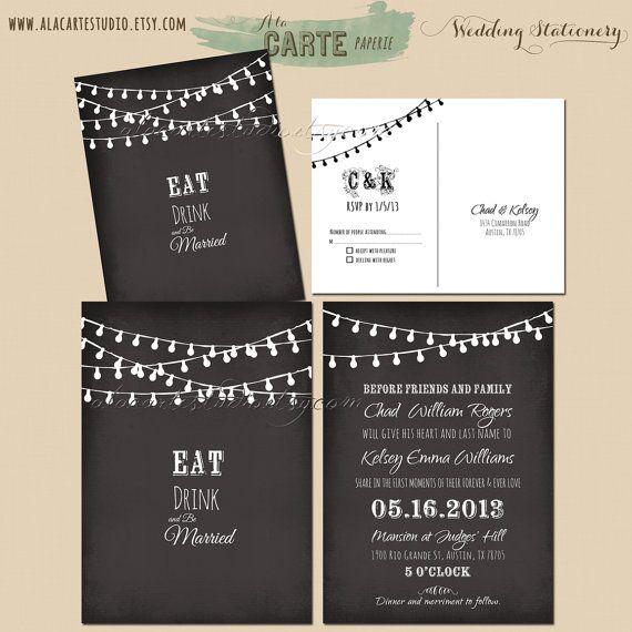 Items Similar To String Light Chalkboard Wedding Invitation Rsvp Black Whimsical Fairy Lights Le Starry Design Fee