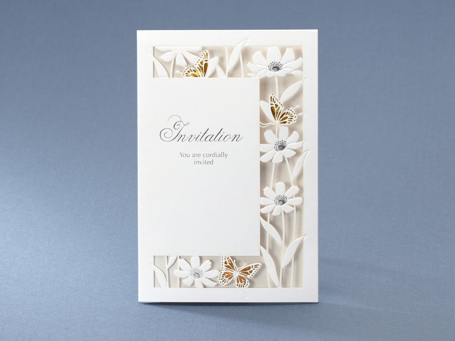 Personalized Laser Cut Laced Wedding Invitations with Flowers and ...