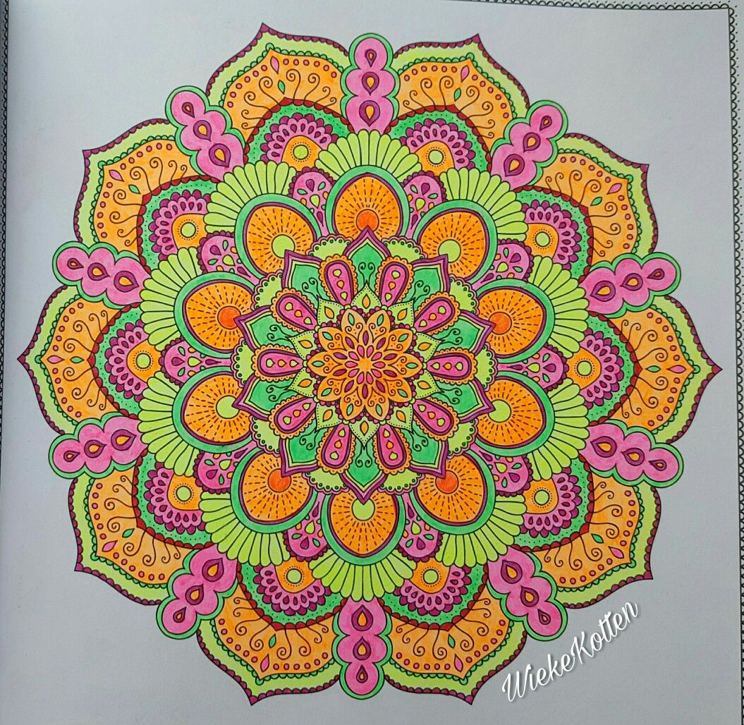 Neon Stabilo Mandala Finished Mandala Coloring Mandala Coloring Pages Mandala Meditation
