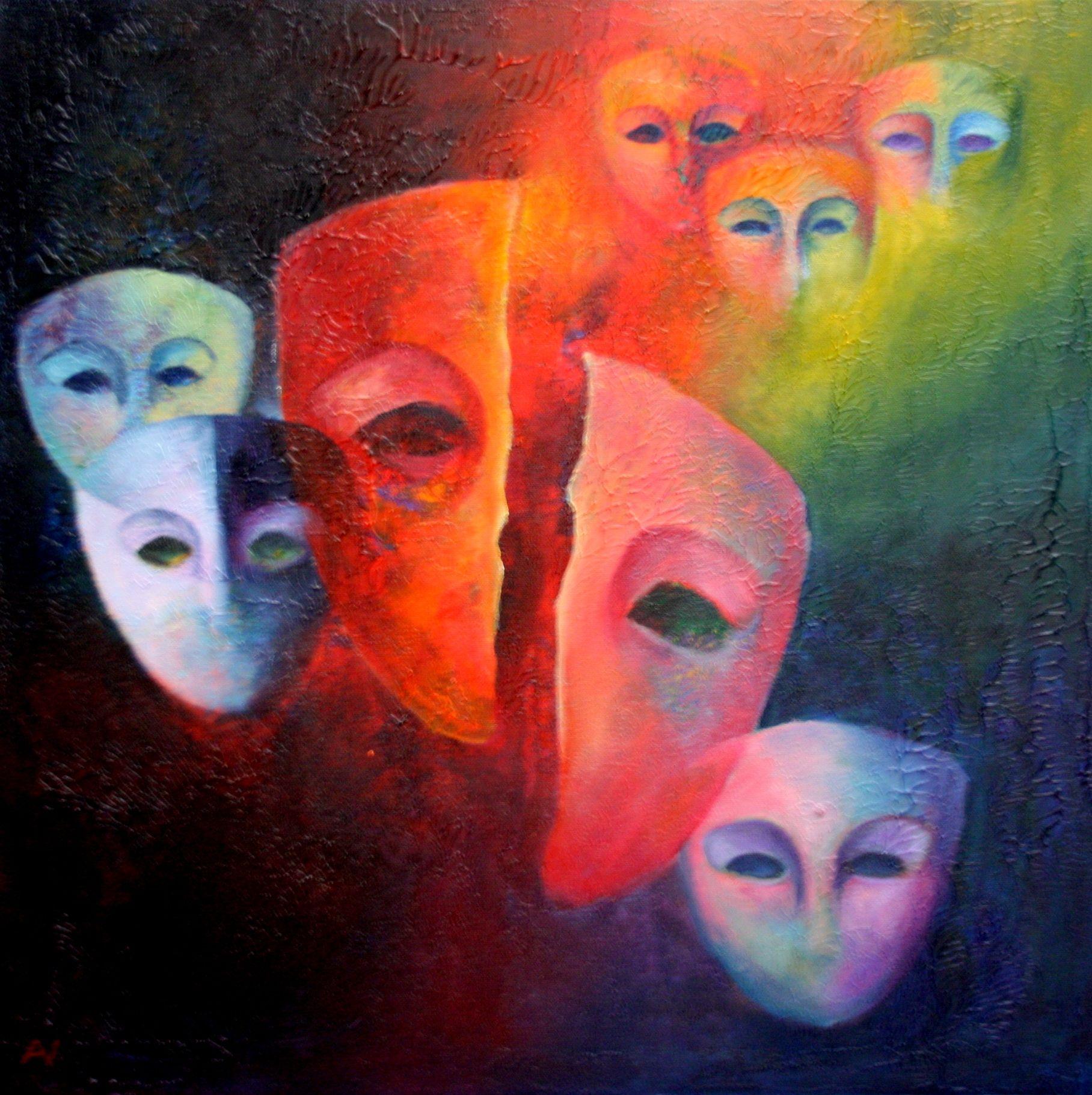 Uit de serie maskers. Vertwijfeling, verscheurd door loyaliteit