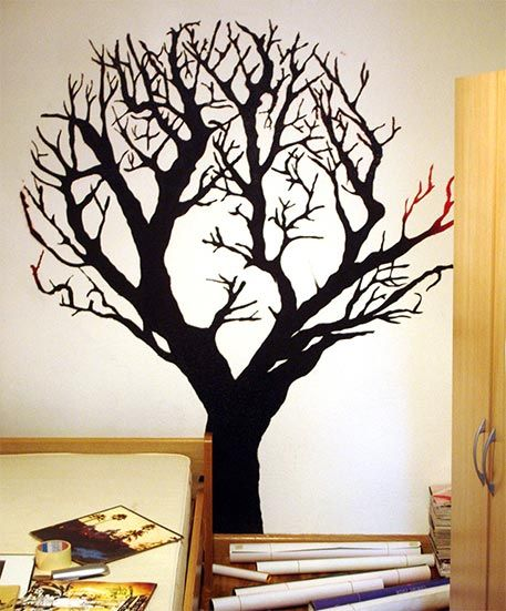 Como pintar un mural de un rbol en la pared paso por paso - Como pintar dibujos en la pared ...