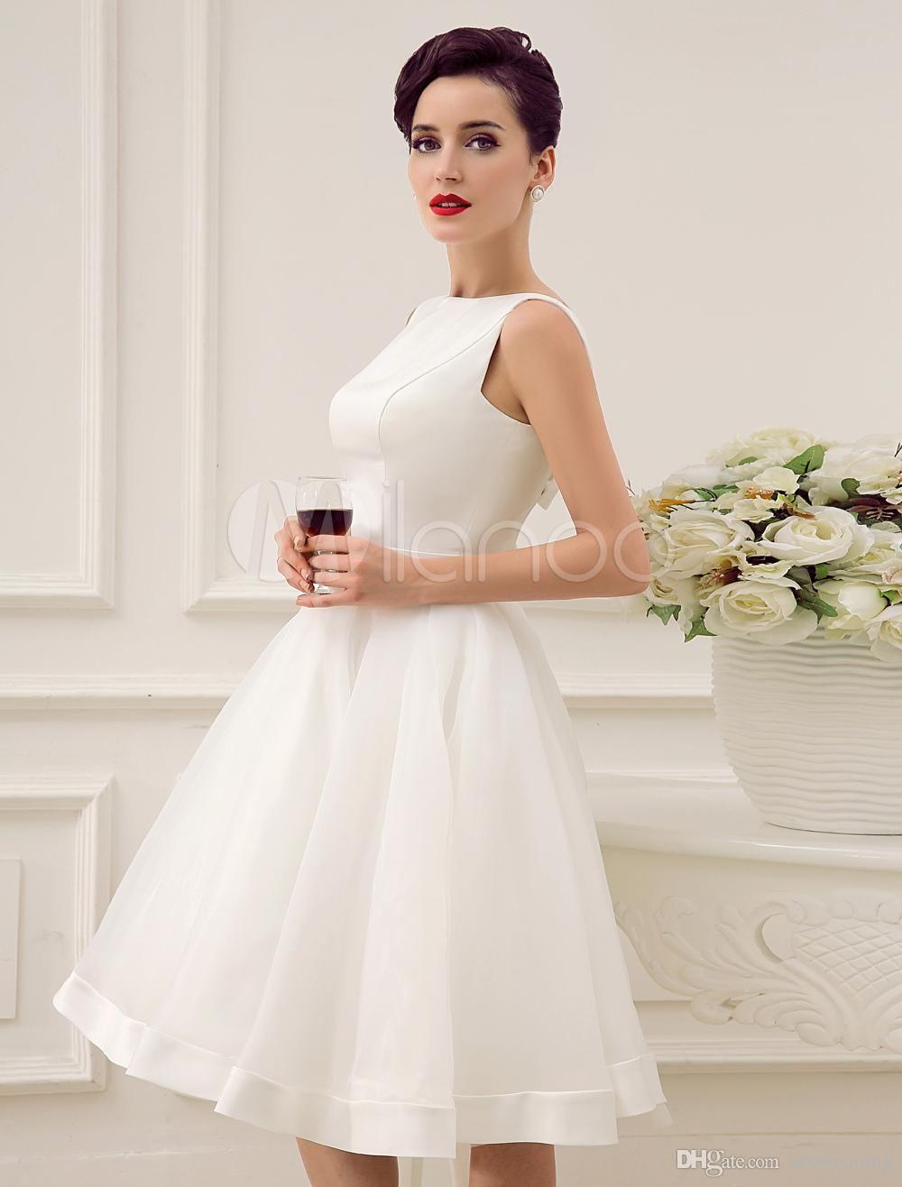 Knee length vintage wedding dresses   Short Wedding Dresses Vintage Bateau Neckline Deep V Back
