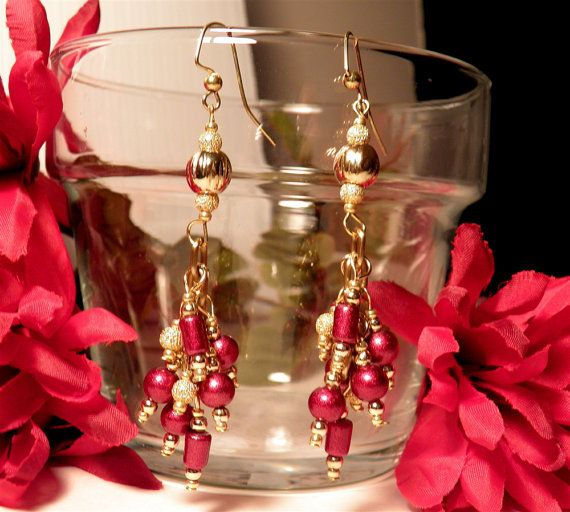 Cherry Red Goldplated Earrings by TheBeadedPathway on Etsy, $19.00