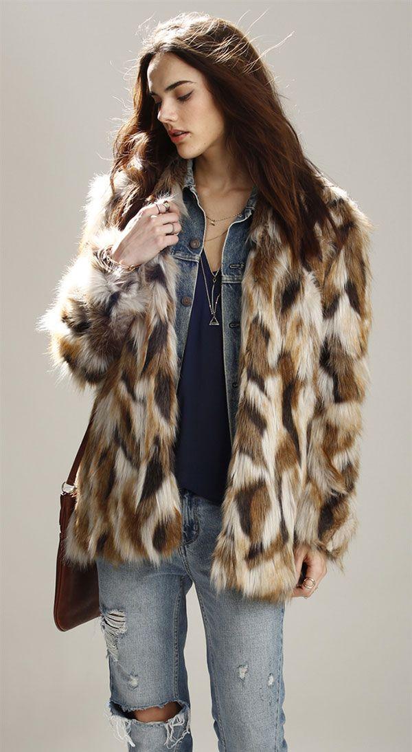faux fur coat + all jeans