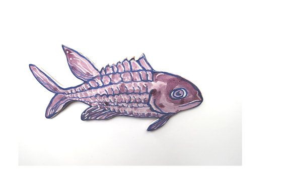 Fish Art Ceramic Squirrel Fish Ceramic Wall by acosmicmermaid