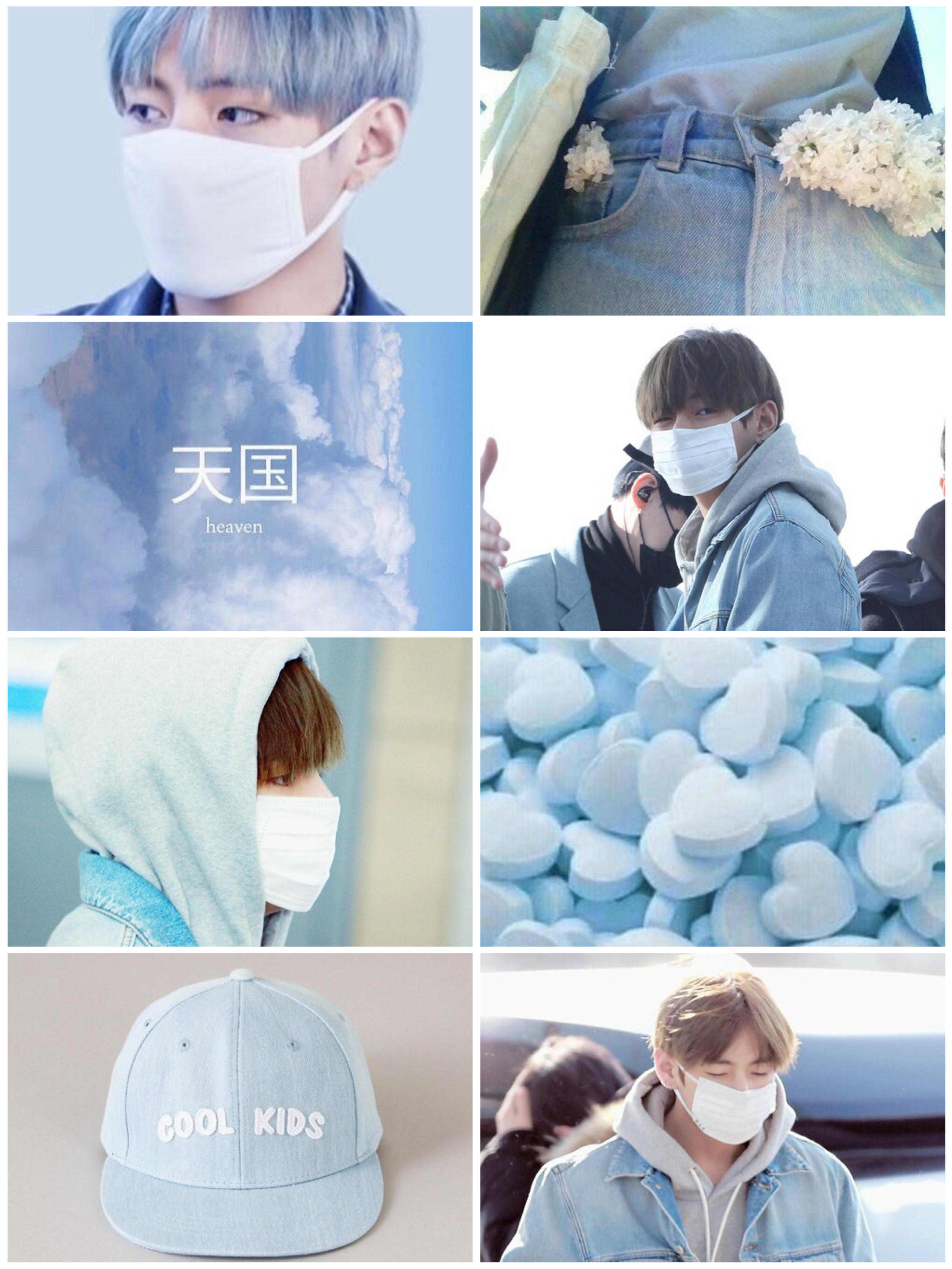 Aesthetic Tae w/ a mask~ Blue and white