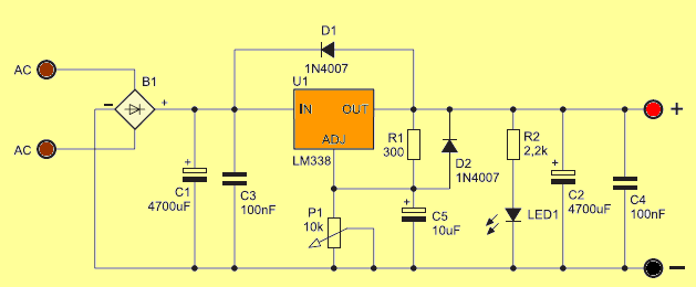 LM338 Adjustable Power Supply Circuit lm338 power supply