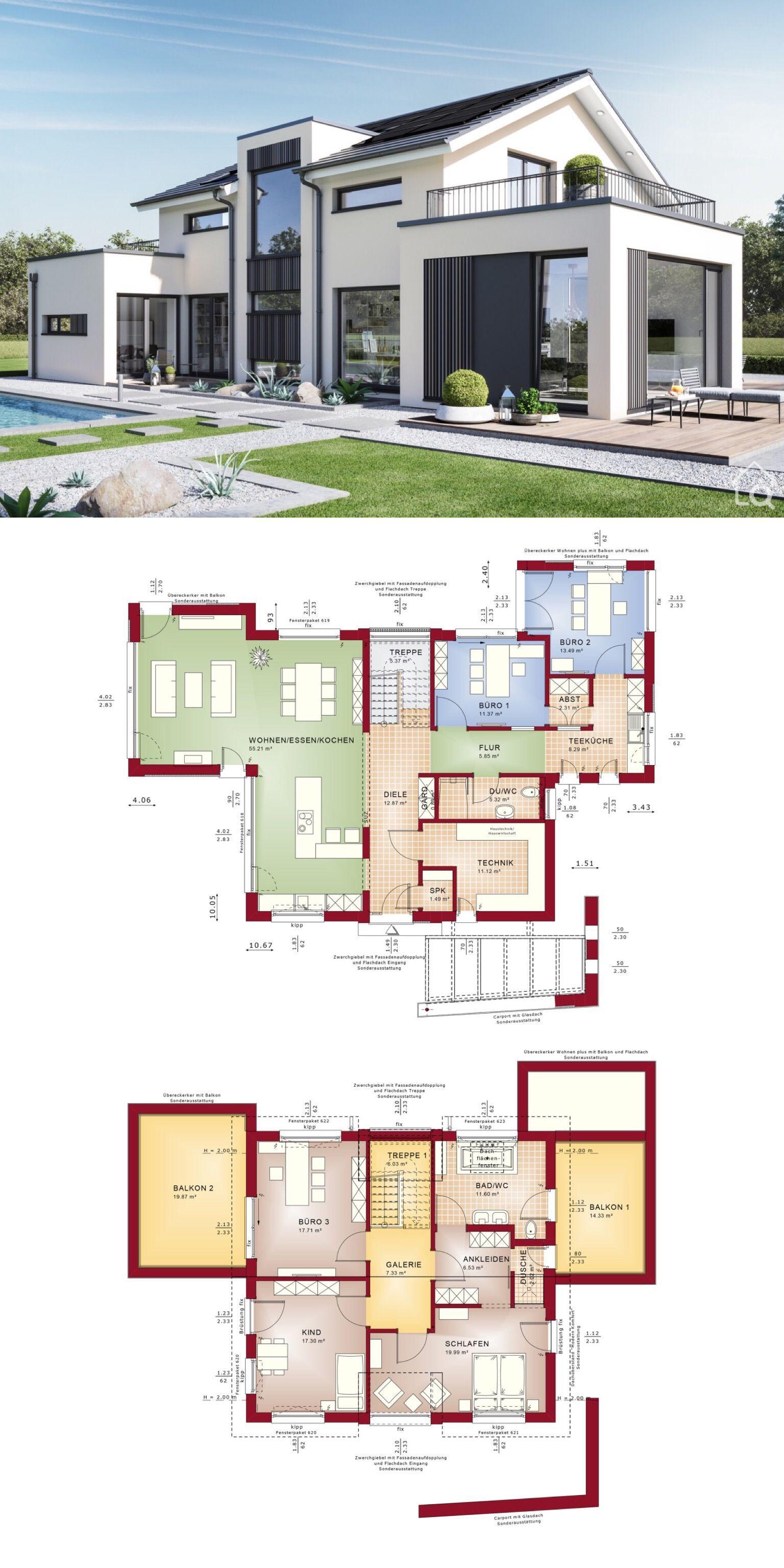 Modernes Satteldach Haus mit 6 Zimmer Grundriss