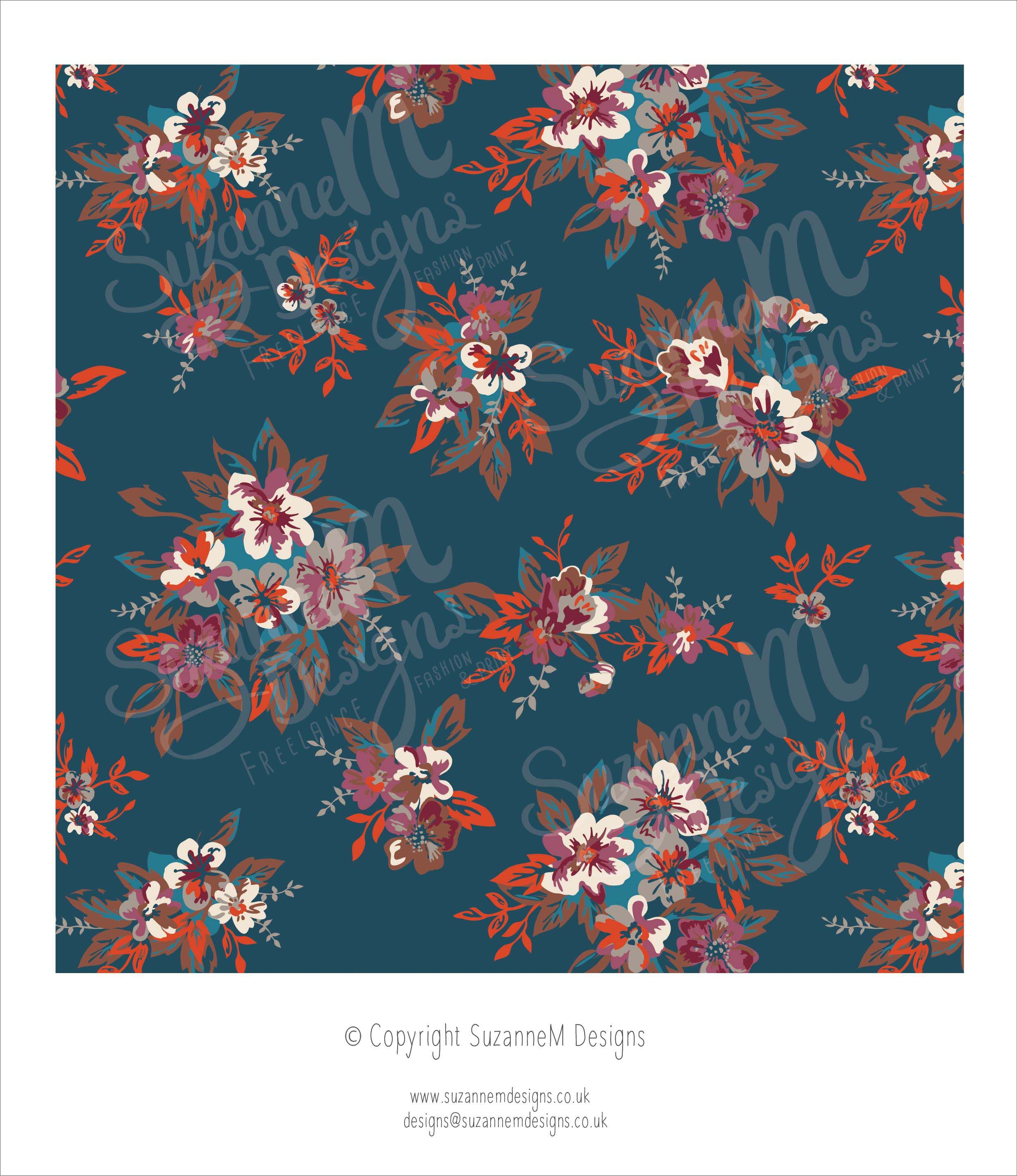 Teal ground traditional floral print in a rich colour palette