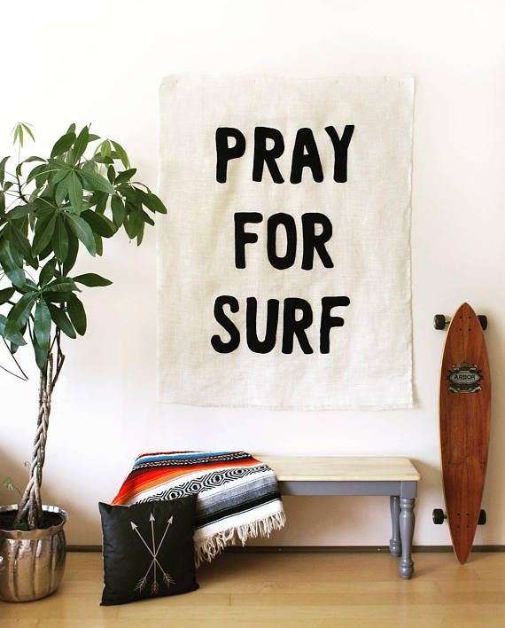 PRAY FOR SURF Wall Mural banner Beach Cottage chic surfer girl shack coastal burlap home decor art black felt canvas typography tapestry #beachcottageideas