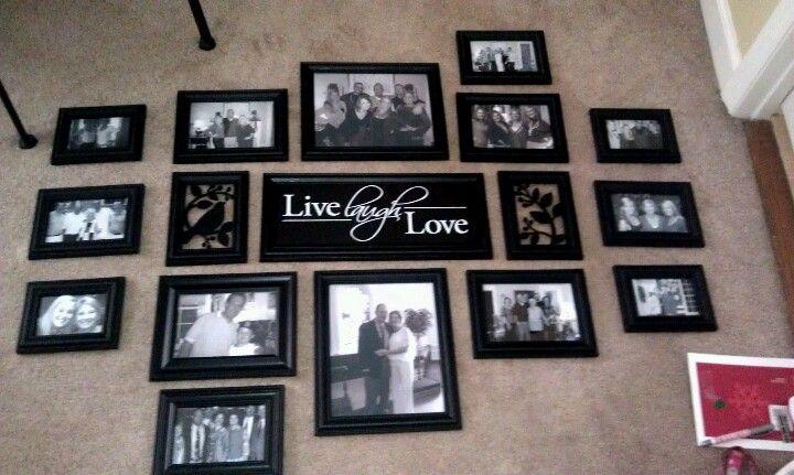 Gallery wall. $8 15 piece frame set + 2 $3 black frames from Walmart ...