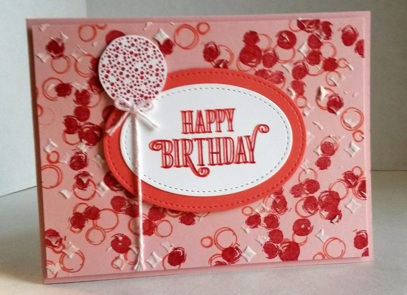 handmade birthday card from Paper Seedlings ... monochromatic red ...