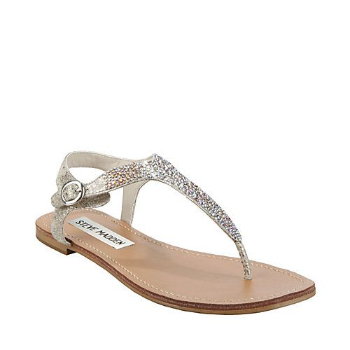 Steve Madden  BEAMINNG DUSTY SILVER women s sandal flat thong (If they had  it in gold I would really like it too)