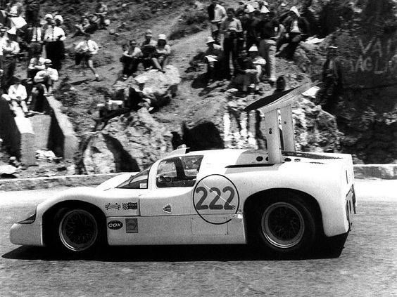 Tackling the Targa in 1967 we see the Phil Hill / Hap Sharp Chaparral 2F that DNFed with a puncture in the wilds of Sicily on a 45 mile lap.