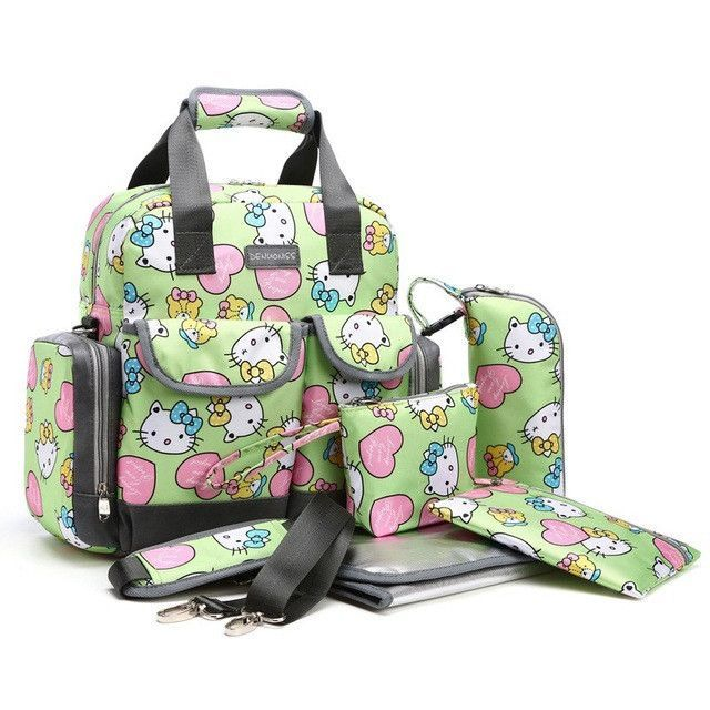 09d9b915d7 5PCS Suits Cute Hello Kitty Baby Diaper Bag Brand Waterproof Women Mummy  Maternity Nappy Bags Tote Stroller Baby Changing Bag