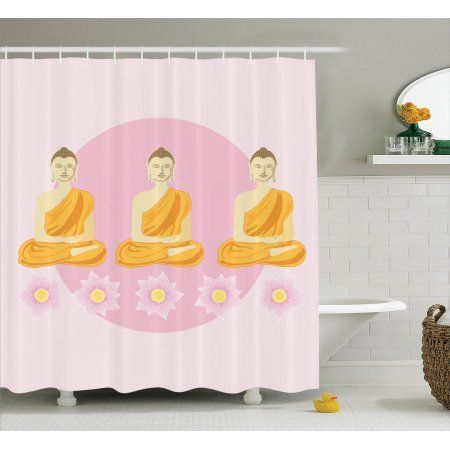 Buddha Decor Shower Curtain Set, Illustration Of 3 Praying Buddha Image Lotus Flowers On The Bottom Indian Home Decor, Bathroom Accessories, 69W X 70L Inches, By Ambesonne #indianhomedecor #buddhadecor