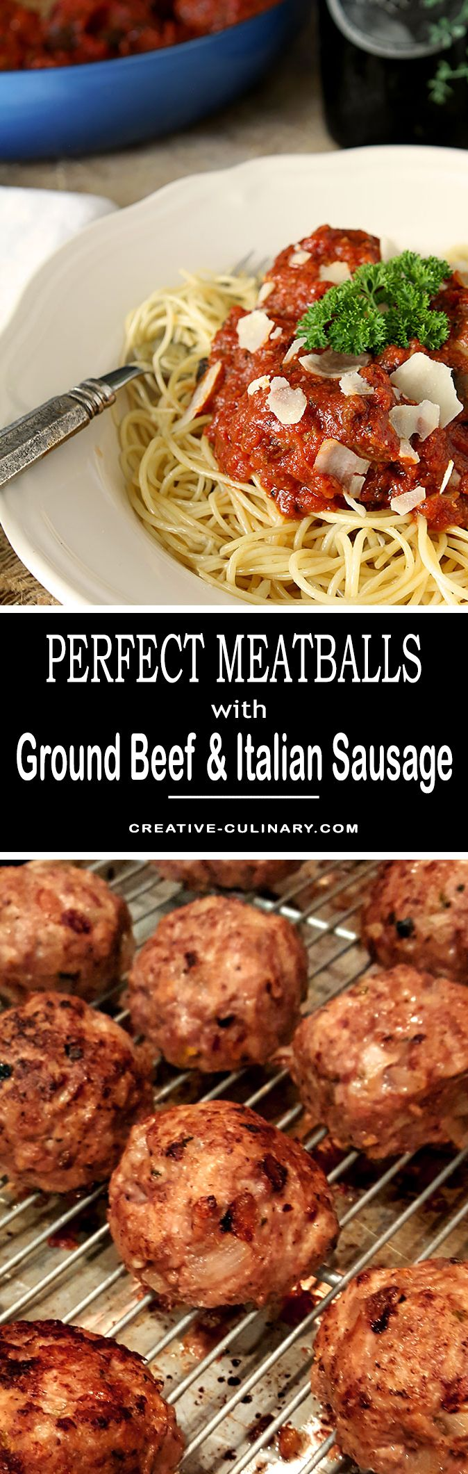 These Really Are Perfect Meatballs With Ground Beef And Italian Sausage Giving Them The Best Flavor Via Creativcu Dinner Entrees Italian Recipes Pork Recipes
