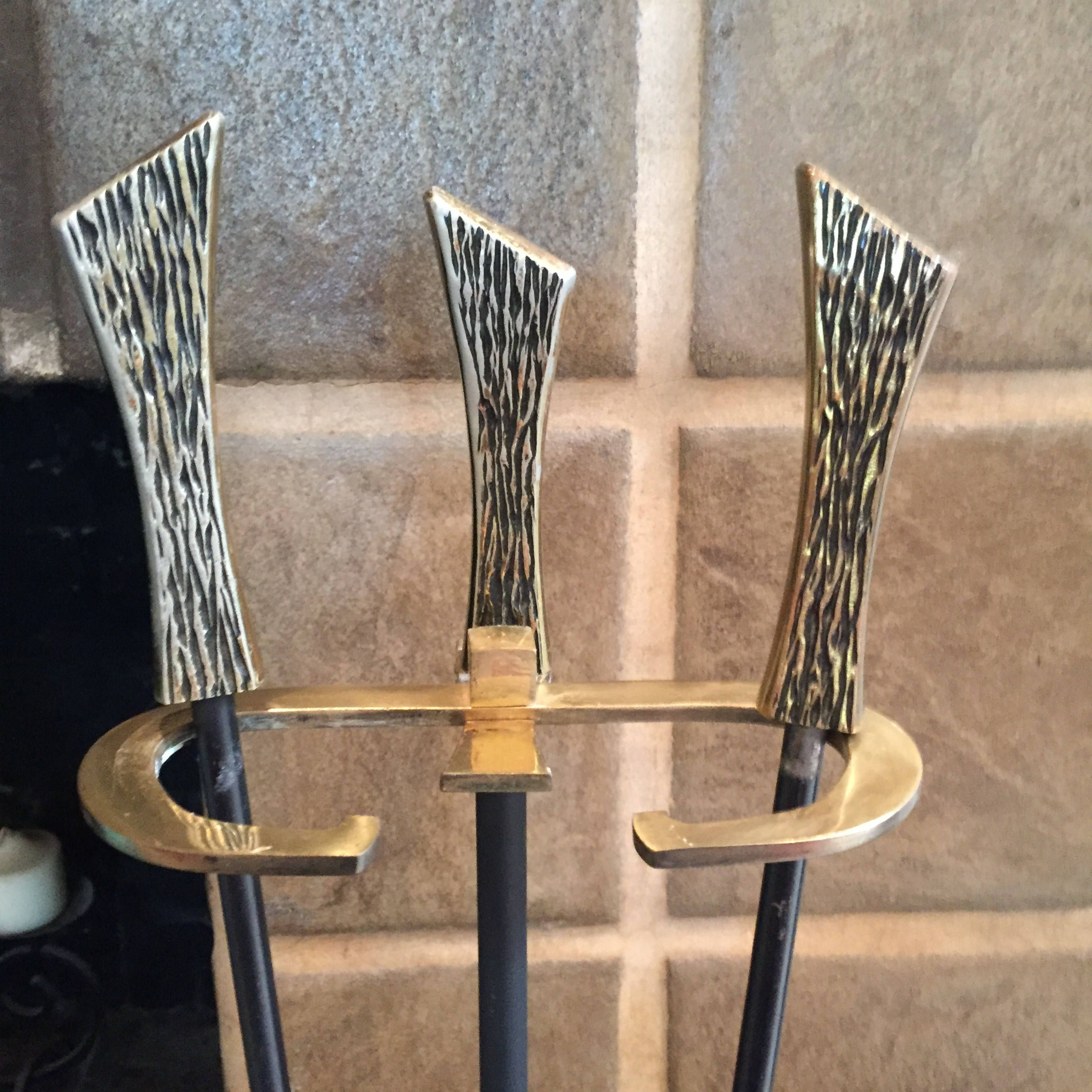 Vintage Modern Fireplace Tool Set With Fancy Cast Brass Handles Modern Fireplace Tools Fireplace Tool Set Fireplace Tools