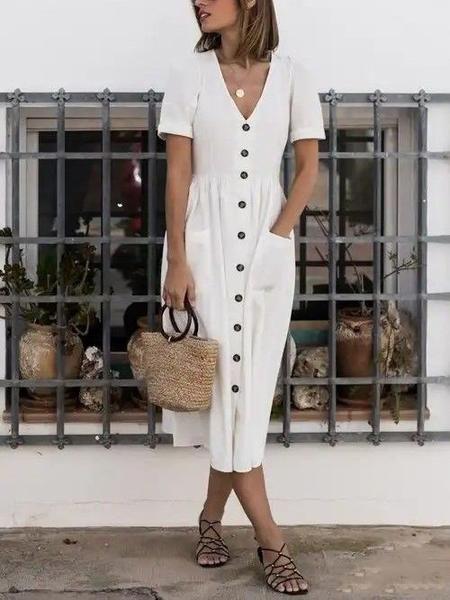Kaufen Sie Casualkleider - V-Ausschnitt Kurzarm Casualkleider online. Entdecken Sie einzigartige Fashion von Designern auf modetalente.com. #summerdresses
