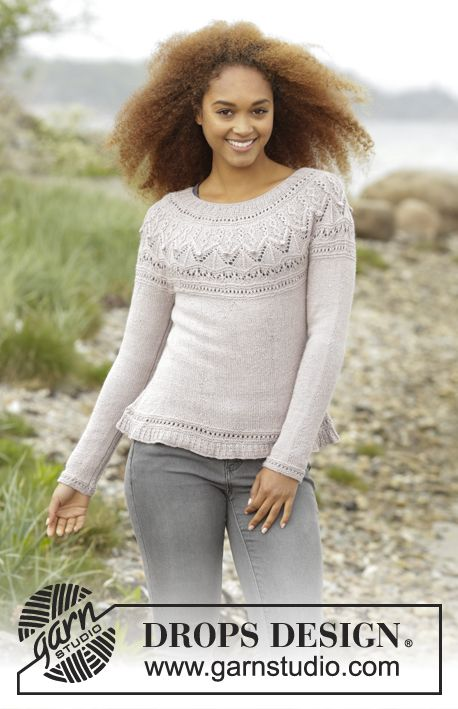 Knitted DROPS jumper with round yoke and textured pattern on yoke in ...