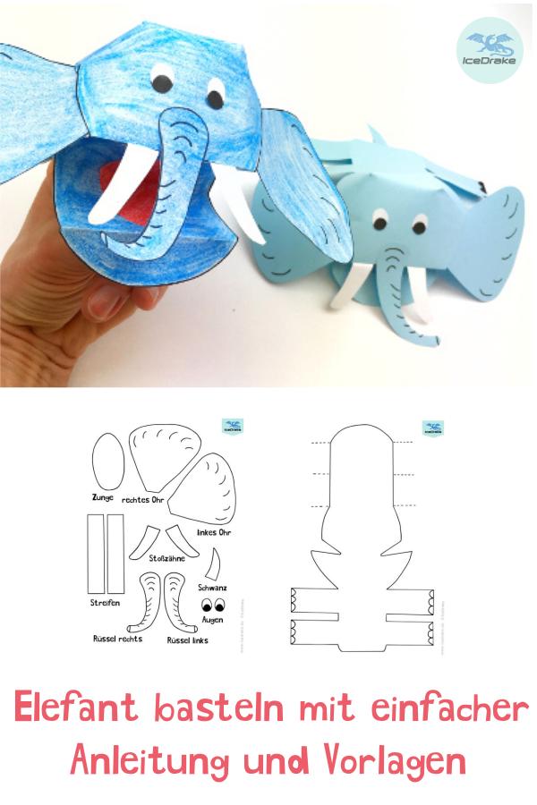 Elefanten Basteln Fingerpuppe Aus Papier Basteln Mit Kindern