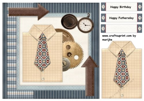 Male card Shirt &amp Tie 1 by Marijke Kok Great male card with shirt & tie vintage watch and steampunk elements for birthday fathersday etc.