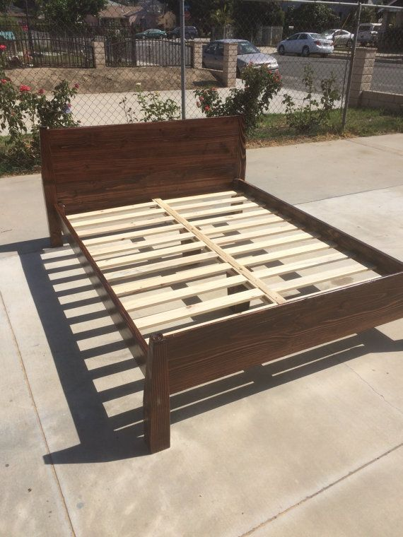 Solid Wood Bed Frame Twin Full Queen Or King Etsy Wood Bed