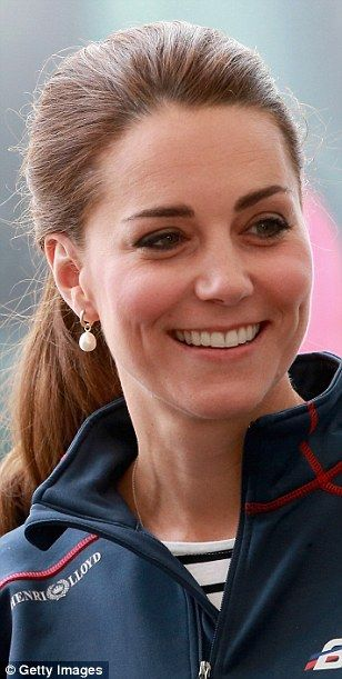 Nautical chic: The Duchess kept her laid back look elegant by accessorising with pearl-dro...
