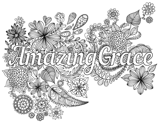 Free printable Amazing Grace adult coloring page. Download it in PDF ...
