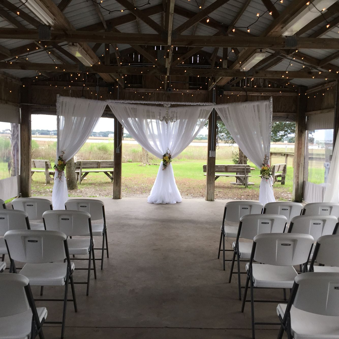 Wedding White Point Gardens Charleston Sc: Gold Bug Island Oyster Shed Set Up For Wedding. In 2019