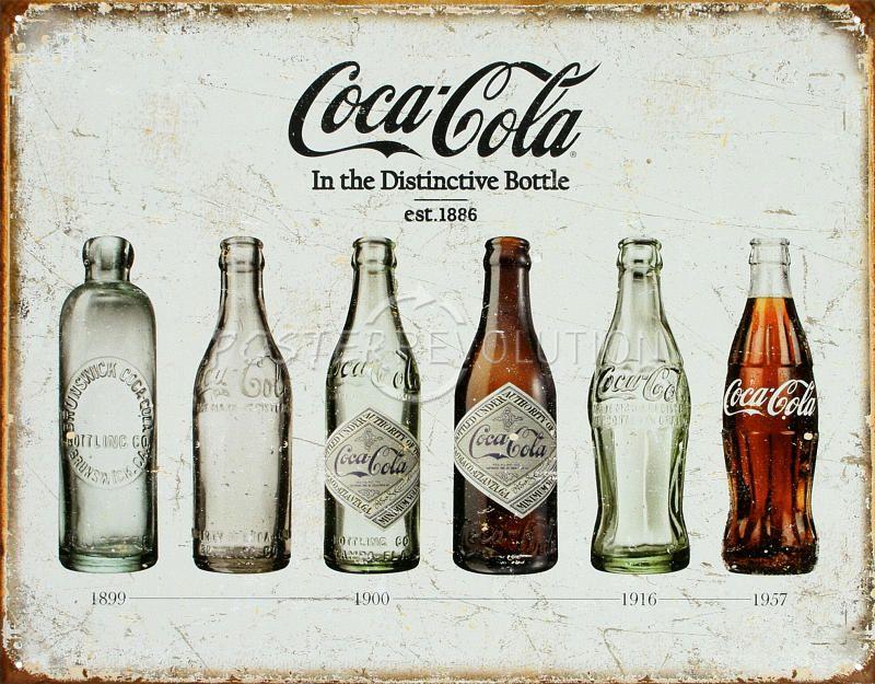 Coca Cola Bottle Evolution Lamentando Retro Cartel de chapa Vintage ...