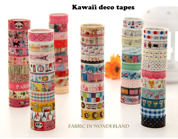 60pcs Kawaii Masking Tapes de Fabric In Wonderland sur DaWanda.com