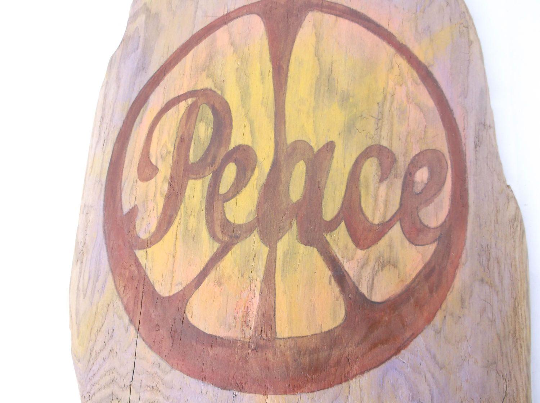 PEACE on driftwood wall art - Driftwood Home Decor - Hippy Decor ...