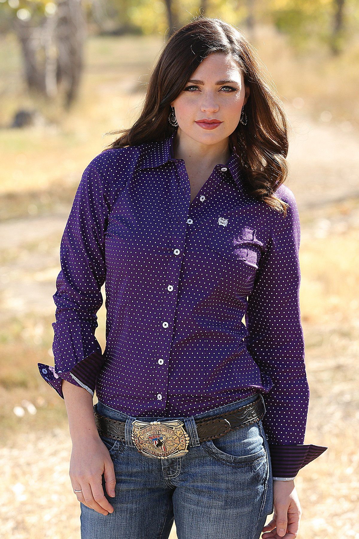 Cinch Women S Purple Polka Dot Button Up Western Shirt Msw9164052 My Style Women S