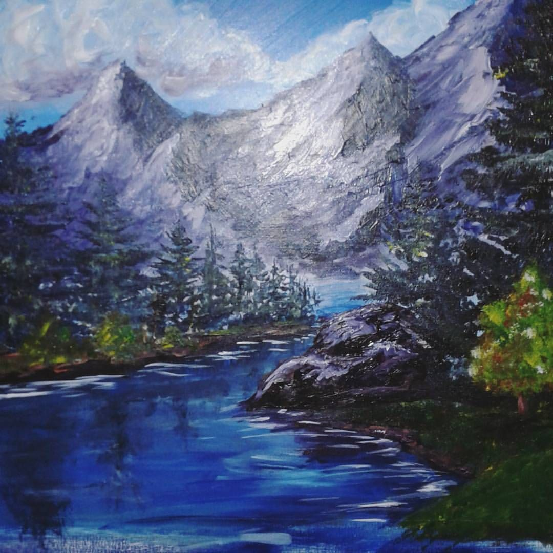 Painting Done From A Bob Ross Dvd So Much Fun Bobross Painting