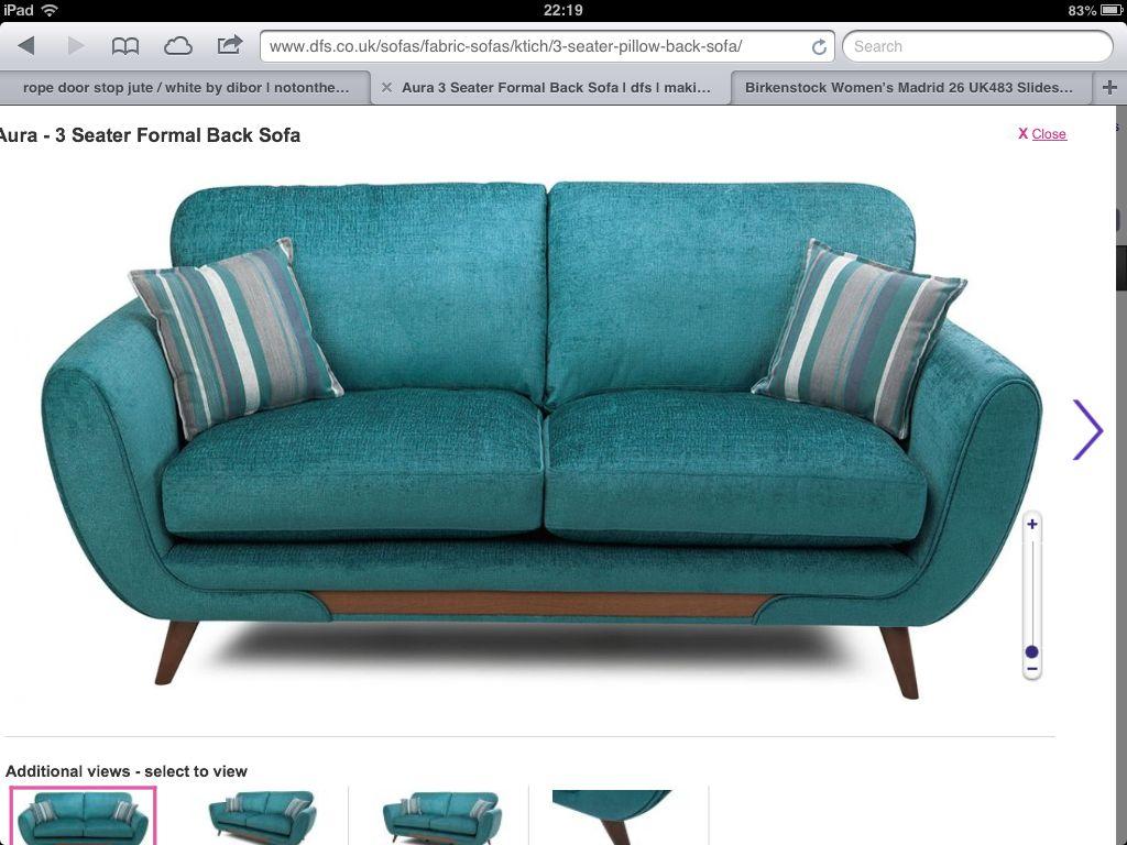 DFS Aura In Teal 3 Seater Formal Back Sofa H97cm W200cm D91cm £459