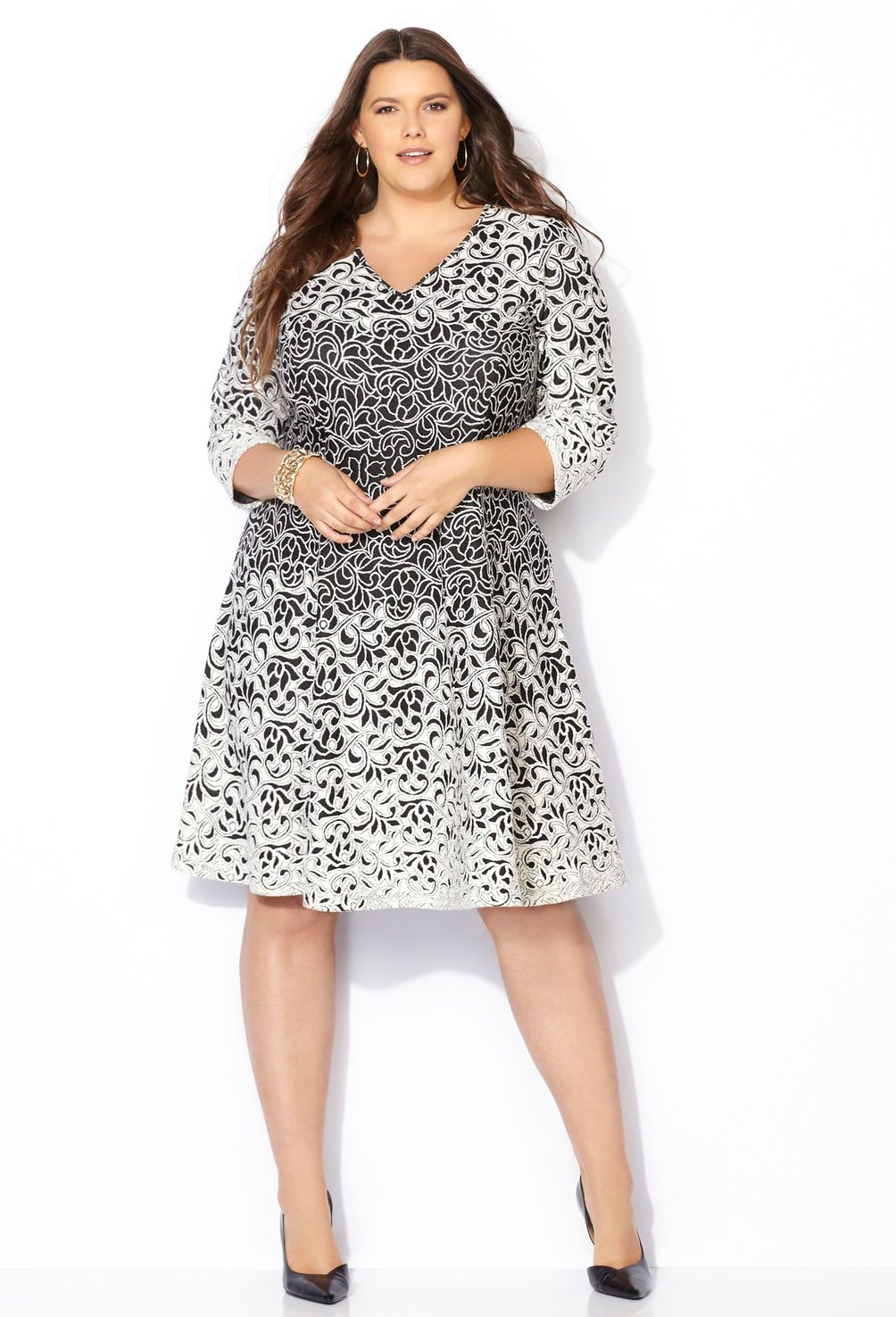 354095b7501e0 Jacquard Floral Swirl Fit and Flare Dress-Plus Size Dress-Avenue ...