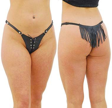 89d97707b8 d) Genuine Leather Lace Front Tail Feather Fringe Thong  UGT9070LFK