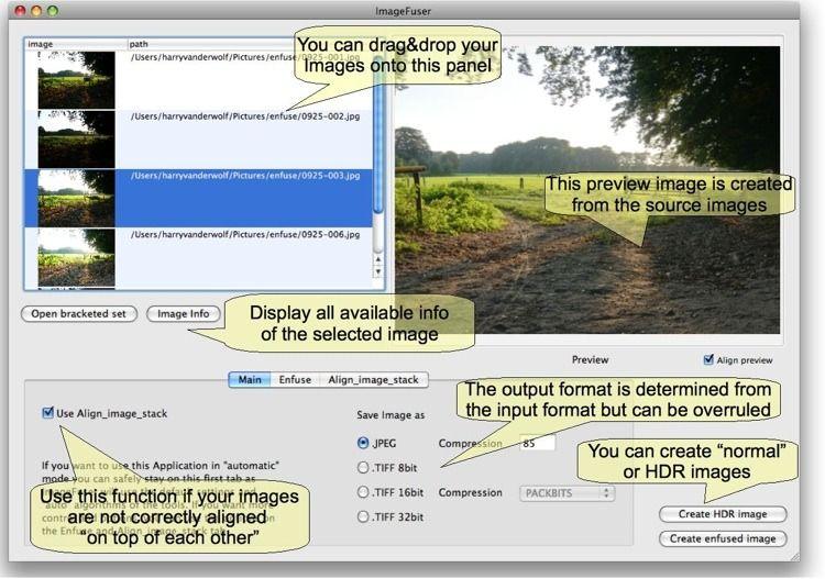 ImageFuser scherm + main tab (versie 0.5.6)