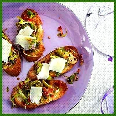 NYE Appetizer Ideas Brussels Sprout and Bacon Crostini appetierz make ahead appetierz sliders